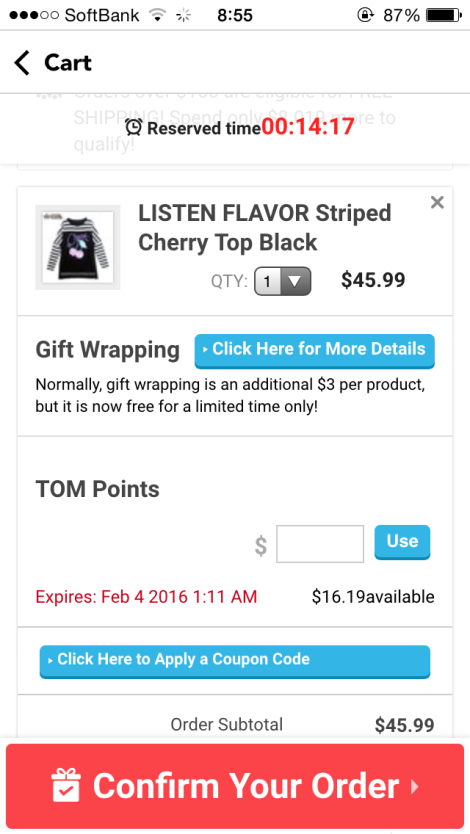 "-- Step 1 (image attached) - Open the TOM Shop App, put items in your cart and look at the cart page. Tap the blue button that says ""Click Here to Apply a Coupon Code"""